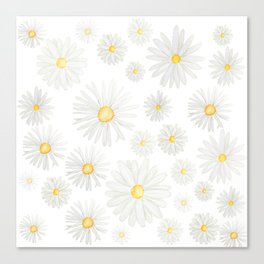 white daisy pattern watercolor Canvas Print