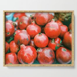 Red pomegranates on a fruit cart in Marrakech Morocco   Colorful travel food photography Serving Tray