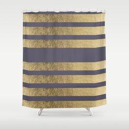 Elegant mauve purple faux gold stripes pattern Shower Curtain