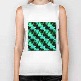 Abstract pattern . The green triangles . Biker Tank