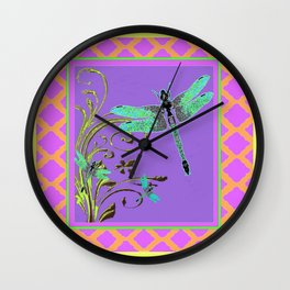 Ornate Blue Dragonflies Pink-Yellow-Purple Lattice Pattern Wall Clock