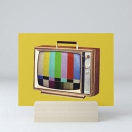 Retro old TV on test screen pattern Mini Art Print