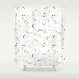 Funny color design. Arcs and Lines #3 Shower Curtain