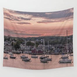 Rockport Harbor Autumn Sunset Wall Tapestry
