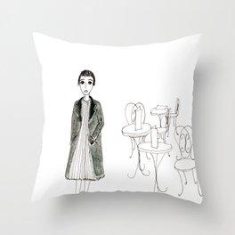 cafe girl Throw Pillow
