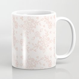 Elegant pink white pastel color chic floral lace Coffee Mug