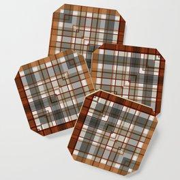 Burnt Sienna Plaid Pattern Coaster