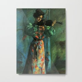 The Violinist; Night, Paris; musical lullaby female portrait painting by Lovis Corinth  Metal Print