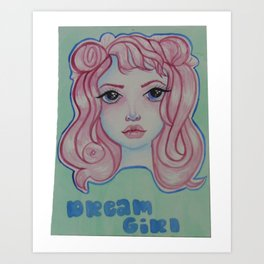 pink haired lady Art Print