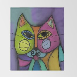 Calico Cat Colorful Abstract Digital Painting  Throw Blanket