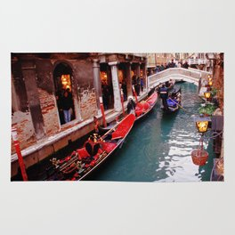 Gondolas On A Small Venetian Canal Rug