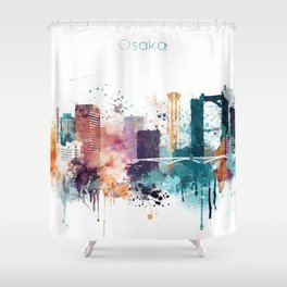 Osaka skyline watercolour Shower Curtain