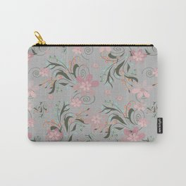 Retro . Pink flowers on grey background . Carry-All Pouch