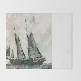 Schooner - vintage art Throw Blanket