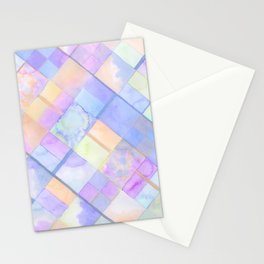 Geometric Watercolor Oranges and Blues Stationery Cards