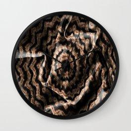 Kaleidoscope Beige Circular Fabric Texture Pattern on Black Wall Clock