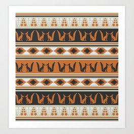 Foxes and ethnic shapes Art Print
