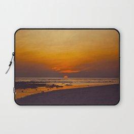 Vintage Sepia Orange Rustic Sunset Over The Ocean Laptop Sleeve