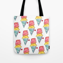 Love You More Than Ice Cream Pattern Food Illustration Love Painting Tote Bag