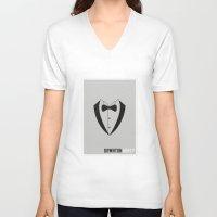 downton abbey V-neck T-shirts featuring Downton Abbey - Minimalist by Marisa Passos