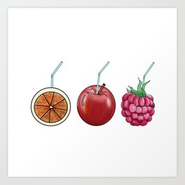fresh fruit and cocktail rolls Art Print