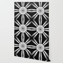 Bold Black and White Stripe Modern Star Design Wallpaper