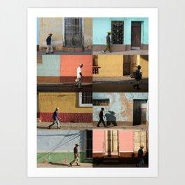 Cuba Men Walking  - Vertical Art Print