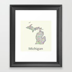 Michigan map Framed Art Print