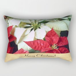 Mixed Color Poinsettias 2 Merry Christmas S2F1 Rectangular Pillow