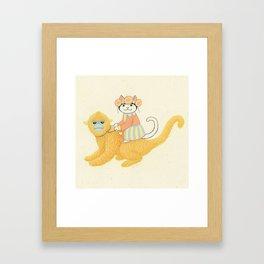 The White Cat with Monkey Framed Art Print