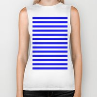 stripes Biker Tanks featuring Horizontal Stripes (Blue/White) by 10813 Apparel