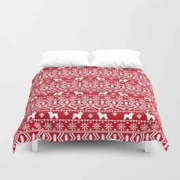 Bichon Frise christmas fair isle dog silhouette minimal winter sweater holiday Duvet Cover