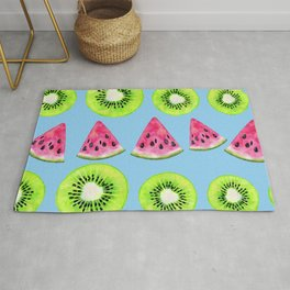 Watermelon And Kiwi Starfruit Pattern On Playful Blue Rug