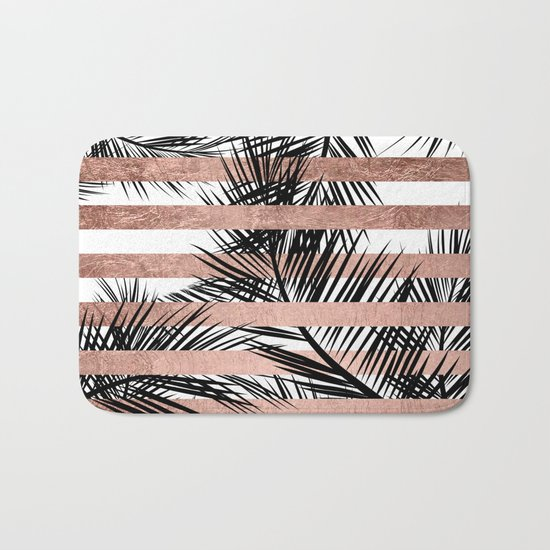 Trendy tropical palm trees chic rose gold stripes Bath Mat