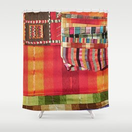 V27 Multi Colored Traditional Moroccan Lovely Textile Texture. Shower Curtain