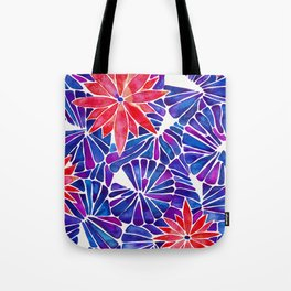 Water Lilies – Indigo & Red Palette Tote Bag