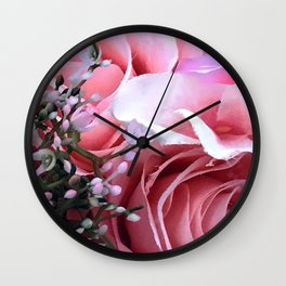 VIP Pink Roses Fine Art Floral With Baby's Breath Wall Clock