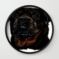 rottweiler Wall Clocks featuring Male Rottweiler by taiche
