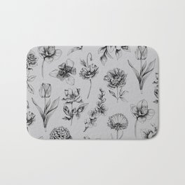 Botanink Pattern Grey Bath Mat