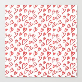 Red hearts seamless pattern Canvas Print