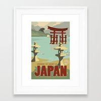 travel poster Framed Art Prints featuring Kaiju Travel Poster by Duke Dastardly