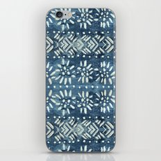 Vintage indigo inspired  flowers and lines iPhone & iPod Skin