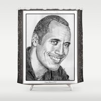 allyson johnson Shower Curtains featuring Dwayne Johnson in 2007 by JMcCombie