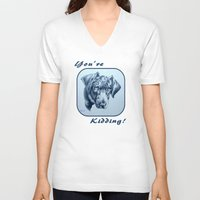 labrador V-neck T-shirts featuring You're Kidding : Black Labrador by Patricia Howitt