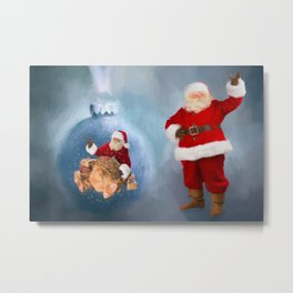 Seasons Greetings from Santa Metal Print