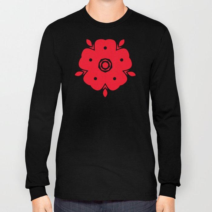 Japanese Samurai flower red pattern Long Sleeve T-shirt