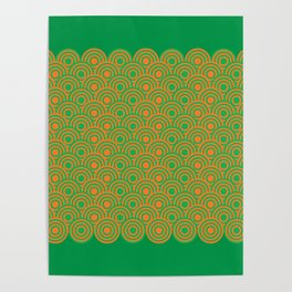 op art pattern retro circles in green and orange Poster