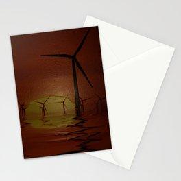 Windmills at Sunset (Digital Art) Stationery Cards