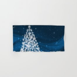 Blue Christmas Eve Snowflakes Winter Holiday Hand & Bath Towel