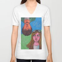 paper towns V-neck T-shirts featuring Paper Towns by Anna Gogoleva
